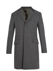 Prada Contrast Collar Single Breasted Wool Coat Grey