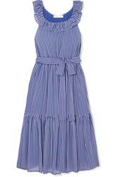 Michael Michael Kors Striped Tiered Crepe Midi Dress Blue