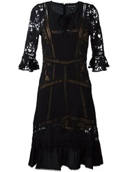 For Love And Lemons Sheer Detailing Flared Dress Black