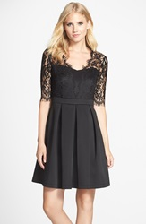 Gabby Skye Lace Fit And Flare Dress Black