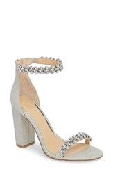 Jewel Badgley Mischka By Mayra Embellished Ankle Strap Sandal Silver Glitter Fabric