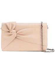 Casadei Front Bow Shoulder Bag Women Calf Leather Satin One Size Nude Neutrals