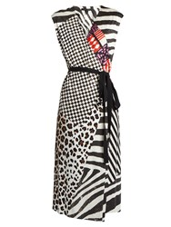 Marc Jacobs Contrast Print Sleeveless Jersey Wrap Dress Black Multi