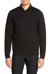 Men's Big And Tall Calibrate Quilted Shawl Collar Sweater Black Caviar