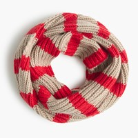 J.Crew Ribbed Wool Striped Infinity Scarf Stone Poppy