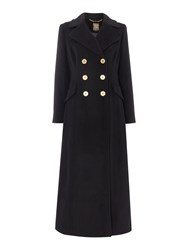 Biba Military Style Longline Wool Mix Coat Black