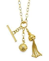 18K Gold Tassel Toggle Ball Charm Necklace Monica Rich Kosann