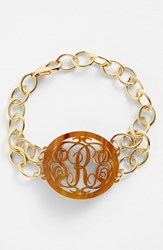 Women's Moon And Lola 'Annabel' Medium Oval Personalized Monogram Bracelet Tigers Eye Gold Nordstrom Exclusive
