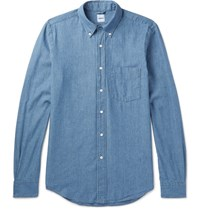 Aspesi Slim Fit Button Down Collar Cotton Chambray Shirt Indigo