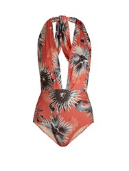 Adriana Degreas Floral Print Halterneck Swimsuit Coral