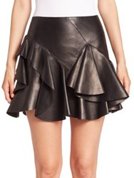 Alexander Mcqueen Leather Tiered Ruffle Mini Skirt Black