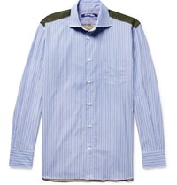 Junya Watanabe Panelled Cotton Poplin And Camouflage Print Ripstop Shirt Blue