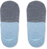 Anonymous Ism Two Tone No Show Cotton Blend Socks Blue