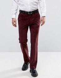 Asos Straight Trousers In Burgundy With Cord Detail Burgundy Red
