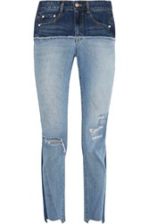 Sjyp Steve J And Yoni P Two Tone Distressed High Rise Slim Leg Jeans Mid Denim
