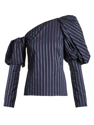 Osman Asymmetric Striped Cotton Top Navy Stripe