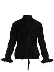J.W.Anderson High Neck Pleated Crepe Jacket Black