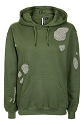 Topshop Standout Raw Sequin Hoodie Khaki