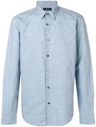 Theory Irving Button Shirt Blue