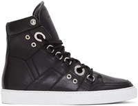 Diesel Black Gold Leather High Top Sneakers