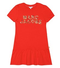 Little Marc Jacobs Embellished Cotton Dress Red