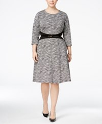 Calvin Klein Plus Size Colorblocked Belted Fit And Flare Dress Black Cream