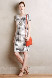 Maeve Stripestack Shift Dress White