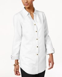 Jm Collection Petite Linen Blend Shirt Only At Macy's Bright White