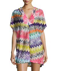 Missoni Mare Hooded Zigzag Beach Coverup Dress Multicolor