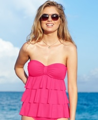 Kenneth Cole Reaction Tiered Ruffle Tankini Top Women's Swimsuit Punch