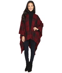 Brigitte Bailey Ulani Plaid Shawl With Pocket Burgundy Women's Clothing