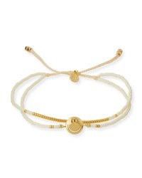 Tai Smiley Emoji Beaded Bracelet Ivory