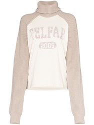 Telfar Turtleneck Logo Knitted Jumper Neutrals