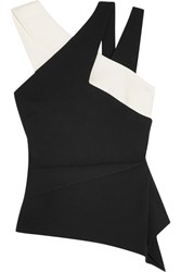 Roland Mouret Thornhill Color Block Stretch Crepe Top Black