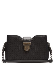 Bottega Veneta Intrecciato Woven Leather Shoulder Bag Black