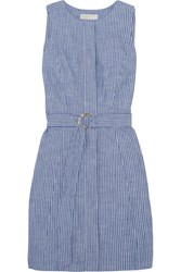Michael Michael Kors Belted Striped Cotton Blend Chambray Mini Dress Blue