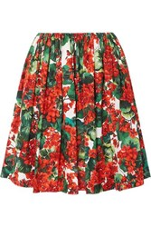 Dolce And Gabbana Pleated Floral Print Cotton Skirt Red