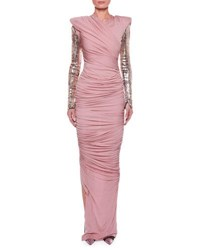 Tom Ford Ruched Bodice Gown With Beaded Sleeves Pink