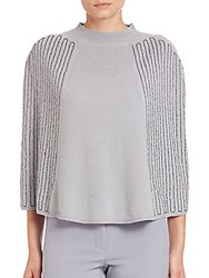 Halston Embellished Wool And Cashmere Poncho Cape Haze