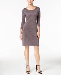 Nine West Metallic Sheath Dress Shadow Silver