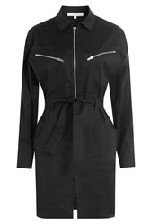 Iro Linen Cotton Shirtdress With Zips Black