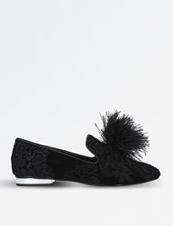 Carvela Lapin Brocade Velvet Slippers Black