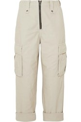 Ksubi Crypt Cropped Cotton Twill Cargo Pants Cream
