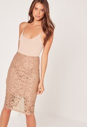 Missguided Lace Midi Skirt Tan Brown