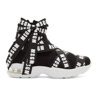 Msgm Black Logo Ribbon Sneakers