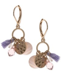 Lonna And Lilly Gold Tone Multi Charm Pink Purple Dangle Drop Earrings