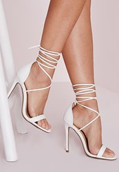 Missguided Lace Up Barely There Heeled Sandals White Croc White