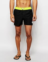 Native Youth Swim Shorts With Contrast Waistband Black