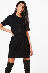 Boohoo Lace Corset T Shirt Dress Black