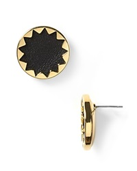 House Of Harlow 1960 Sunburst Leather Button Earrings Black Gold